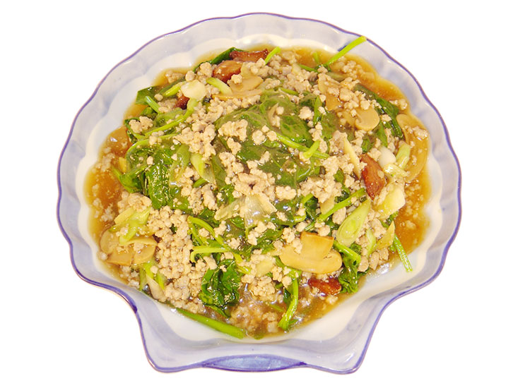 鹹魚肉碎扒菠菜 Salted Fish & Pork with Spinach